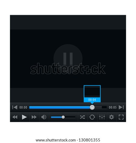 Media player with video loading bar. Contemporary classic dark style. Variation 02 (color blue). Vector illustration web design element saved in 10 eps