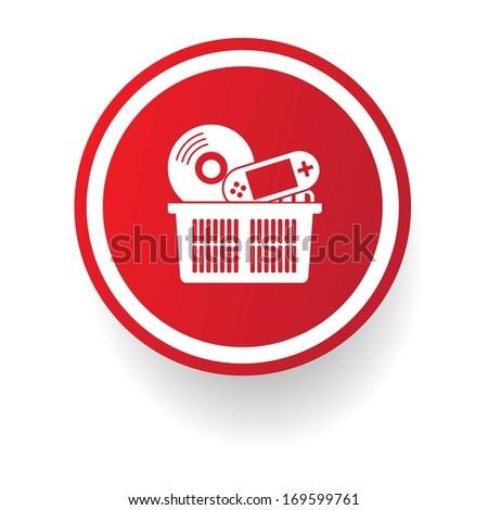 Media shopping button, vector - stock vector
