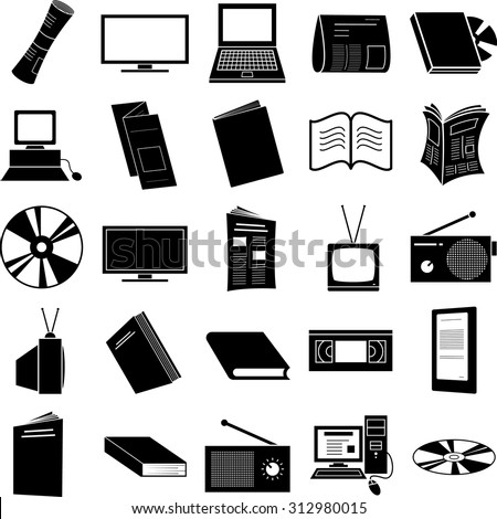 media symbols set - stock vector