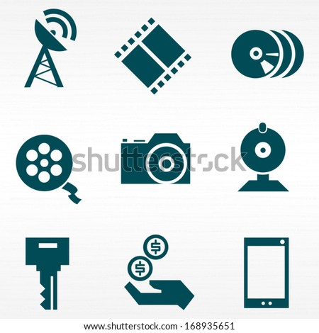 Media technologies icons set / Solid fill set in EPS 8 format - stock vector