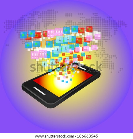 Media technology illustration with mobile phone and icons - stock vector