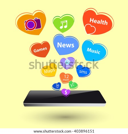 Media technology illustration with mobile phone and icons like hearts