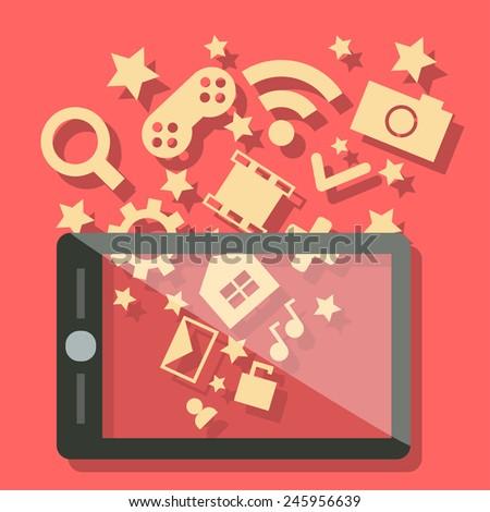 Media technology mobile phone - stock vector