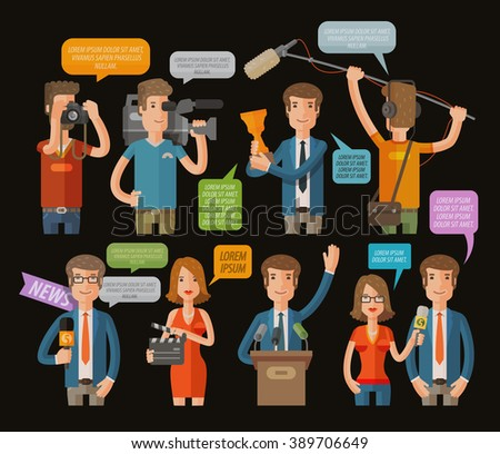 media, television or journalism icons set. vector illustration - stock vector