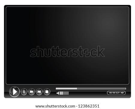 media video black player- vector illustration - stock vector