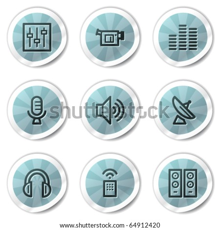 Media web icons, blue shine stickers series - stock vector