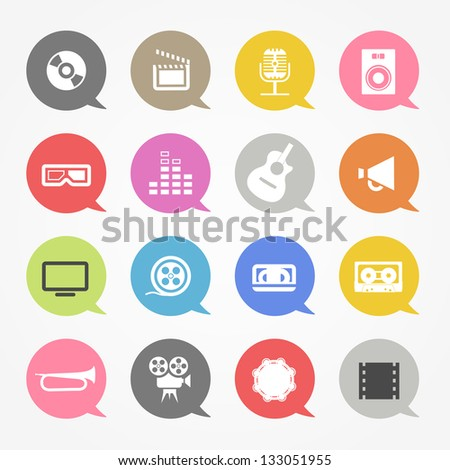 Media web icons set in color speech clouds - stock vector