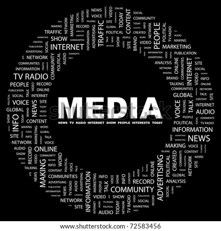 MEDIA. Word collage on black background. Vector illustration. Illustration with different association terms. - stock vector