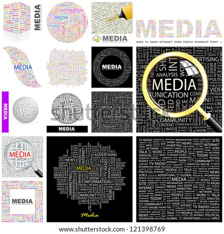 MEDIA. Word collage. Vector illustration. - stock vector