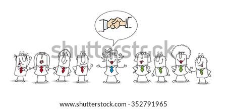 Mediation between two working teams.  - stock vector