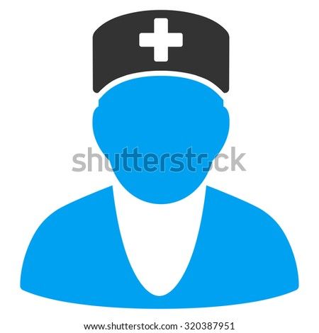 Medic vector icon. Style is bicolor flat symbol, blue and gray colors, rounded angles, white background.