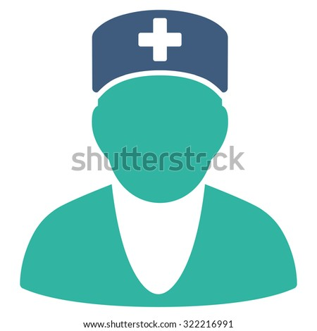 Medic vector icon. Style is bicolor flat symbol, cobalt and cyan colors, rounded angles, white background.