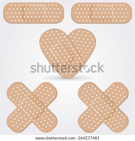 Medical adhesive bandage isolated on white background. - stock vector