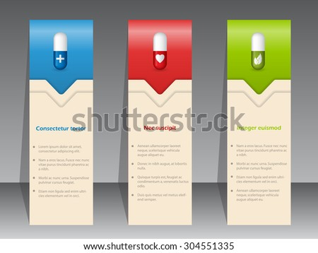 Medical advertisement with pills on color banner set - stock vector