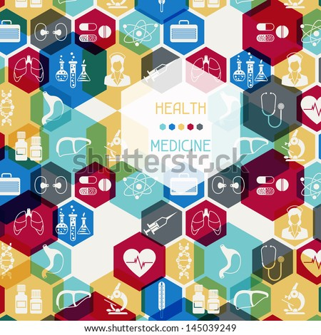 Medical and health care background. - stock vector