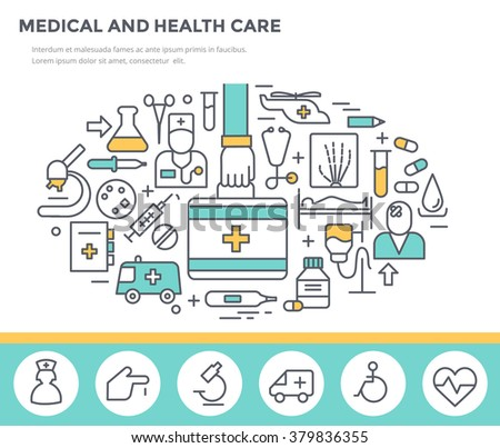 Medical and health care concept illustration, thin line flat design - stock vector