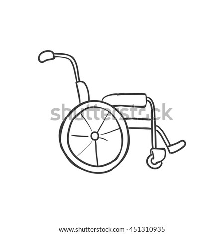 Medical and Health care concept represented by wheelchair icon. Isolated and sketch illustration