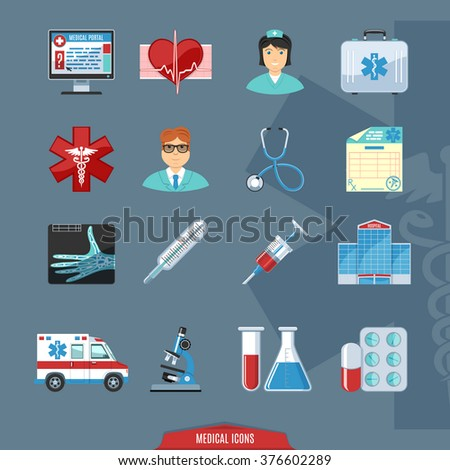 Medical And Health Care  Flat Colorful Icons - stock vector