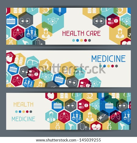 Medical and health care horizontal banners. - stock vector