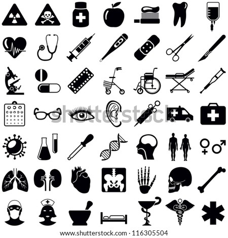 Medical and health care icons collection - vector illustration