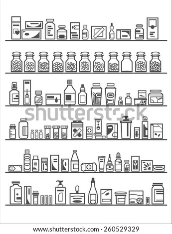 Medical and Health Care Icons, pharmacy shelves - stock vector