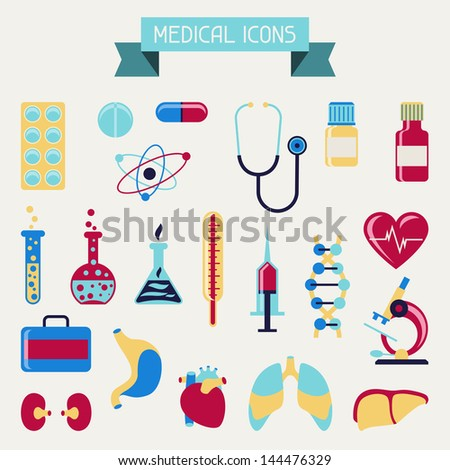 Medical and health care icons set. - stock vector