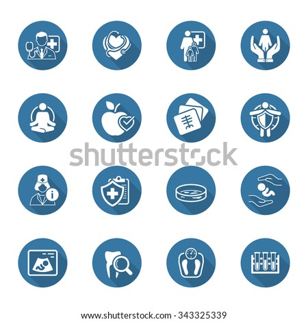 Medical and Health Care Icons Set with Shadow. Flat Design. Isolated Illustration. - stock vector