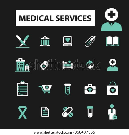 Medical and health care  icons, signs vector concept set for infographics, mobile, website, application  - stock vector