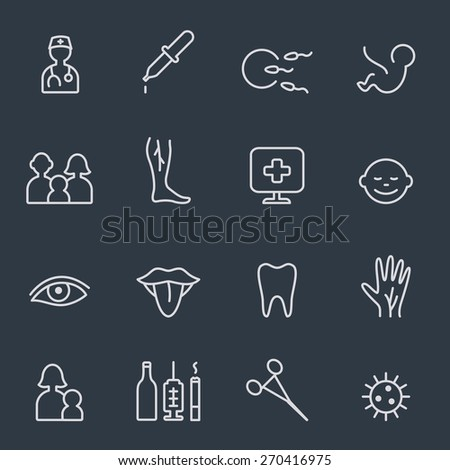 Medical and health care icons, thin line design - stock vector