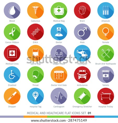 Medical and Health Care Long Shadow Flat Icons Set 01 - stock vector