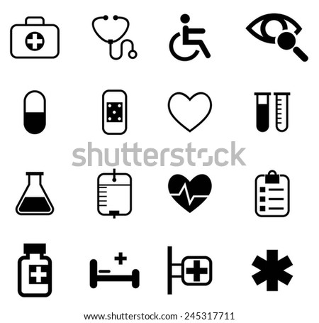 Medical and health icons set. EPS-10 - stock vector