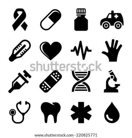 Medical and Health Icons Set. Vector illustration - stock vector