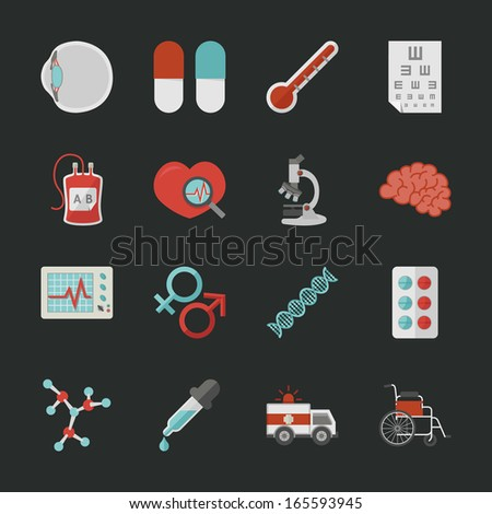 Medical and health  icons with black background , eps10 vector format