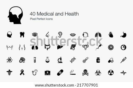 Medical and Health Pixel Perfect Icons - stock vector