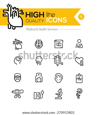 Medical and Health Services line icons series - stock vector