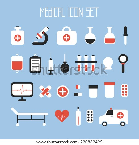 Medical and health vector colorful icons set. Design elements. Illustration in flat style.