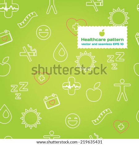 Medical and healthcare stylish seamless pattern background. Modern vector illustration and design element set