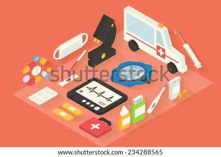 Medical and healthcare vector icons set. Ambulance, pharmacy. 3d Isometric Flat design long shadows vector.