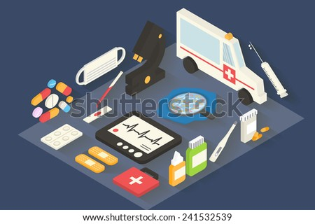 Medical and healthcare vector icons set. Ambulance, pharmacy. 3d Isometric Flat design long shadows vector. - stock vector