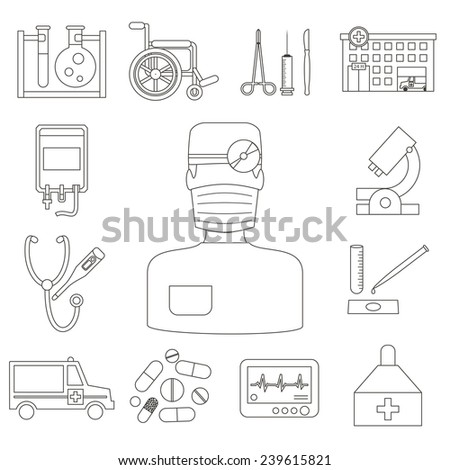 Medical and healthcare vector line icons set. Ambulance hospital. Flat design vector. - stock vector