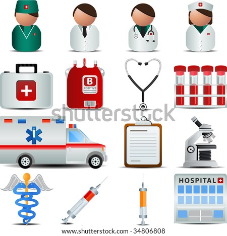 Medical and Hospital  Centre icons - stock vector