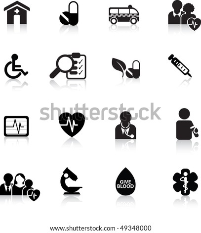 medical and hospital icon and web silhouette buttons - stock vector