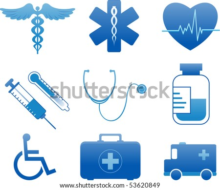 Medical and hospital icons - stock vector