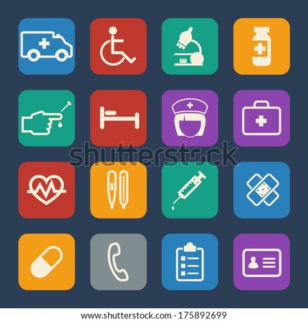 Medical and Hospital icons set. Flat design. - stock vector