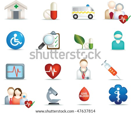 medical and hospital symbols and icons - stock vector