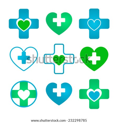 Medical and pharmaceutical icons based on cross and heart - stock vector