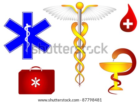 Medical and pharmacological sign. Caduceus, bowl of Hygieia, Rod of Asclepius, and Star of Life. St Andrew's cross and Eskulap. Medical, pharmacological, commerce and Army Medical Corps symbols. - stock vector