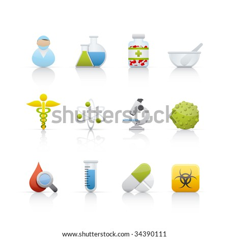 Medical and Pharmacy Set of icons on white background in Adobe Illustrator EPS 8 format for multiple applications. - stock vector