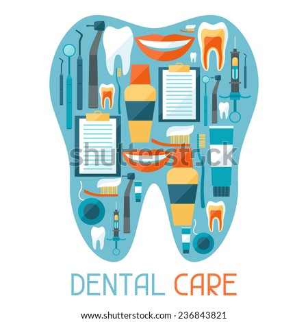 Medical background design with dental equipment icons. - stock vector