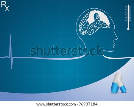 Medical background with human brain, pill on blue graph. Vector illustration.